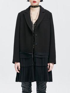 Shop Coats - Black Paneled Lapel Work Polyester Coat online. Discover unique designers fashion at StyleWe.com.