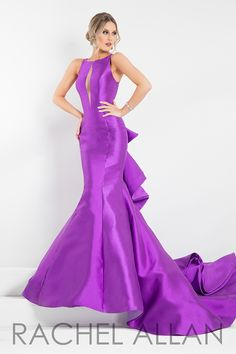 5898 - Mikado mermaid with ruffled layers detailing the back and a high neckline