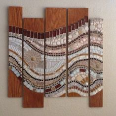 Mosaic wall hanging done on wood with flowing waves of earth colors Mosaic Tile Art, Mosaic Artwork, Wood Mosaic, Mosaic Diy, Mosaic Garden, Mosaic Crafts, Mosaic Projects, Mosaic Glass, Glass Art