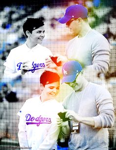Ginnifer Goodwin & Josh Dallas. Josh was talking pictures of Ginnifers pitch at the dodgers game. TOO CUTE.:)