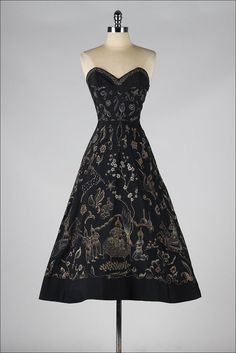 vintage 1950s dress . black mythical hand by millstreetvintage