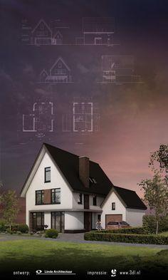 Impressie woning architectuur 3 D, Presentation, Houses, Cabin, House Styles, Artist, Design, Home Decor, Homes