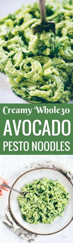 Save this zoodles recipe for zucchini noodles with creamy avocado pesto for a healthy weeknight dish you can pair with chicken, shrimp or steak! Easy whole30 dinner. Easy healthy meal. Zucchini noodle recipe. Best zoodle recipes. whole30 meal plan. Easy w