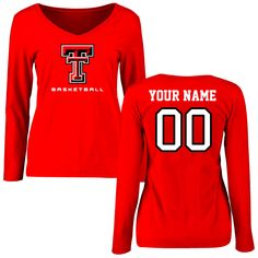 Texas Tech Red Raiders Women's Personalized Basketball Slim Fit Long Sleeve T-Shirt - Red - $42.99
