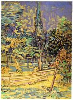 Vincent Van Gogh Stone Steps in the Hospital Garden vintage color print. A…