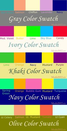 what colors to wear with gray, ivory, khaki, navy, and olive - never wonder about what color to wear with which color again