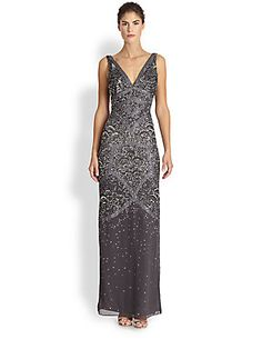 Aidan Mattox Beaded Deco Gown in Gunmetal $475 -   Allover beaded embroidery gives this floor-length chiffon silhouette a shimmering, undeniably 1920s sensibility.  V neckline Sleeveless Concealed back zip Lined