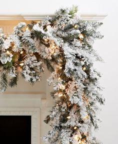 Kurt Adler Christmas Decoration, 9' Pre Lit Flocked Norway Garland - Christmas Decorations - Holiday Lane