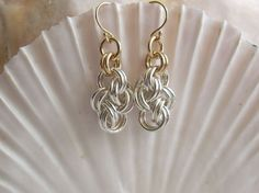 Earrings: Argentium Silver Chainmaille Clouds with Gold-filled Accents and Earwires