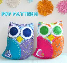 PDF Owl Softie Pattern Felt Hand Sewing Embroidery Project Toy Cute Plush. $6.00, via Etsy.