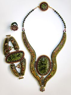 Alexandra Sydorenko.  The Mystery Of Snake Hill Set - beadwork.  I like the different shapes and textures