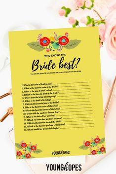 Who Knows the Bride Best Free Printable Free Bridal Shower Games, Bridal Shower Activities, Bridal Bingo, Printable Bridal Shower Games, Bridal Shower Table Decorations, Bridal Shower Tables, Bridal Shower Rustic, Bridal Shower Favors, Backyard Bridal Showers