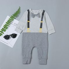 Baby Boy Grey Striped Jumpsuit - anmino Old Baby Clothes, Winter Baby Clothes, Baby Outfits Newborn, Baby Boy Outfits, Kids Outfits, Baby Boy Jumpsuit, Striped Jumpsuit, Uniform Clothes, Clothing Studio