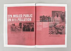 DUST 911 (a self-initiated project). by Matthew Prosser, via Behance Layout Design, Print Design, My Design, Editorial Layout, Editorial Design, Magazine Spreads, Newspaper Design, Creative Industries, Magazine Design