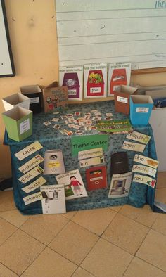 interactive recycling bulletin board - can have items to put into baskets. also have a checklist for them to find the items on the board. Class Displays, Classroom Displays, Primary Resources, Primary Teaching, Reggio Inspired Classrooms, Play Corner, Continuous Provision, Reuse Plastic Bottles, Earth Day Crafts