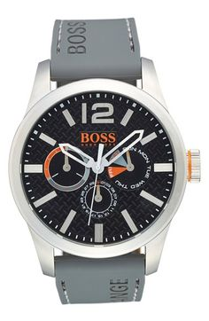 BOSS Orange 'Paris' Silicone Strap Watch, 47mm available at #Nordstrom