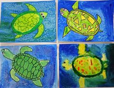 Turtles and watercolor techniques Art Education Lessons, Art Lessons, Drawing For Kids, Art For Kids, Kid Art, Online Painting Classes, Third Grade Art, Sea Turtle Painting, Watercolor Techniques