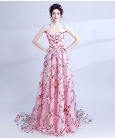 Floral Millennial Pink Wedding Gown with 3-Dimensional Flower Detail