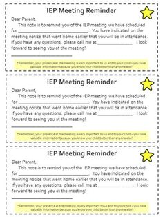 IEP Meeting Reminder - Editable