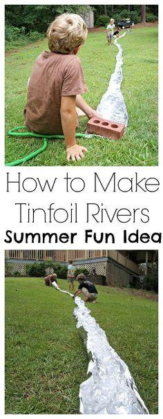 Oh my goodness! My boy children LOVED this Summer Fun Idea for How to Make Tinfoil Rivers. All they needed was a cheap roll of tinfoil, an incline of some sort, and running water. fun Summer Fun Idea: How to Make Tinfoil Rivers Summer Fun For Kids, Cool Kids, Kids Fun, Outdoor Activities For Kids, Outdoor Games, Outdoor Play, Kids Summer Activities, Family Activities, Outdoor Fun For Kids