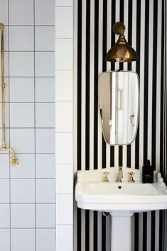 fancy bathroom with black & white striped wallpaper and gold accents // fort & field Black And White Wallpaper, Striped Wallpaper, Black White, Print Wallpaper, Bathroom Wallpaper Tips, Wallpaper Ideas, Byron Beach, Timber Shelves, Beach House Decor