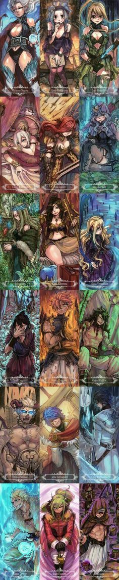 Fairy Tail characters, guild, cool, text, Mirajane, Levy, Lucy, Lisanna, Erza, Juvia, Evergreen, Cana, Mavis, Zeref, Natsu, Gajeel, Elfman, Jellal, Gray, Laxus, Freed, Bixslow, Dragon Slayer Mode, demon; Fairy Tail