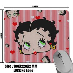 New Arrival Popular Product Betty Boop Background Picture Soft Non-Skid Rectangle Computer Desktop Mouse Mat 180*220*2mm