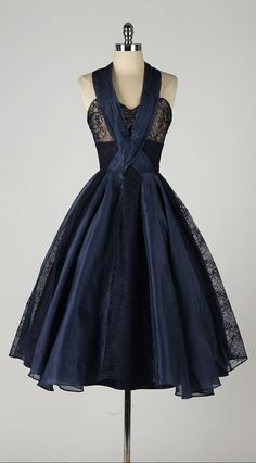 vintage 1950s dress . navy blue organza . by millstreetvintage