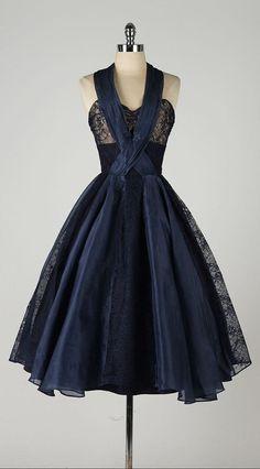 vintage 1950s dress . navy blue organza