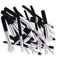 New 25 Pcs Makeup Brush Nylon Hair Black Handle Foundation Multifunction Blending Brush Professional Brush Makeup Tools  #Affiliate