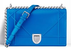 Check Out Dior's Cruise 2016 Handbags, In Stores Now Bucket Handbags, Blue Handbags, Blue Purse, Blue Bags, Dior Diorama Bag, Chain Shoulder Bag, Shoulder Bags, Lady Dior, Purses And Bags