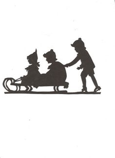 Children sledding Silhouette 1/2 price after by hilemanhouse, $0.99