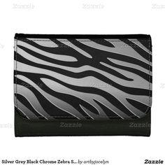 Silver Grey Black Chrome Zebra Stripe Pattern Wallets
