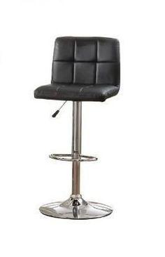 Furniture of America IDF-BR6904BK Tufted Black Leatherette Adjustable Bar Stool