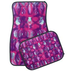 Spruce your car up with these stylish car mats in pink, purple and teal with a retro inspired abstract pattern.