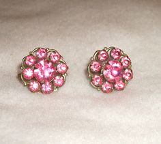 Vintage earrings with Pink Rhinestones by picsoflive on Etsy, $5.00 Vintage Earrings, Vintage Jewelry, Stud Earrings, Pink, Etsy, Fashion, Moda, Fashion Styles, Rose