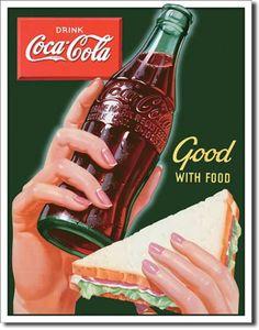 Coke Good with Food Tin Sign, $8.95