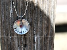 Hand Stamped aluminum necklace. $13.00, via Etsy.