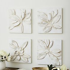Magnolia Plaques - Set of 4 ballard Magnolia Home Decor, Carved Wood Wall Art, Wall Decor Set, Plaster Walls, Plaster Art, Magnolia Flower, Magnolia Wreath, Small Apartment Decorating, Flower Doodles
