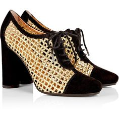 Marc by Marc Jacobs Gold Lattice Lace-up Heel (215 AUD) found on Polyvore