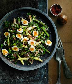 Red quinoa and quail egg salad - Gourmet Traveller