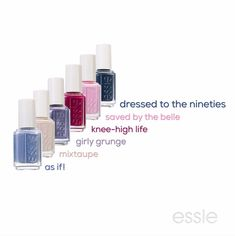 thought the 90s were over? as if! the new essie fall 2017 collection embodies the rebel spirit of the 1990s with nail colors that range from light baby pink to saturated dark purple. these nail polishes are perfectly on trend for the fall fashion season and will complement every outfit! bring out the vintage denim and rock your fave shade!