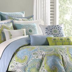 ECHO~SARDINIA~ PAISLEY~GREEN BLUE~KING Comforter Set w/ Skirt
