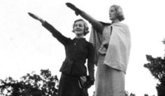 One of the most disturbing images in the Mitford archives; here Diana and Unity are shown giving the Nazi salute.