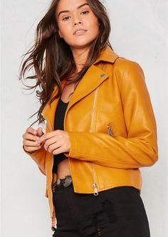 Sydney Mustard Faux Leather Biker Jacket