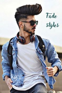 Low fade and layered faux hawk with highlights- model omedbarwarii Cool Hairstyles For Men, Boy Hairstyles, Indian Hairstyles, Cool Haircuts, Haircuts For Men, Natural Hairstyles, Beard Styles For Men, Hair And Beard Styles, Top Fade Haircut