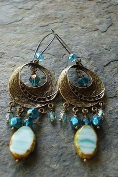 Turquoise Aqua Bohemian Dangle Earrings Chandelier by AJBcreations, $25.00