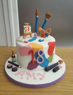 Art theme 18th birthday cake