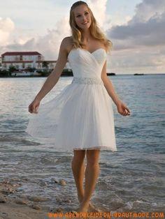Organsin herzförmiger Ausschnitt mit A-Linie kurzem Rock schlichtes Strandbrautkleid  Strand Brautkleider