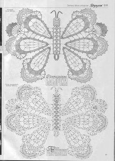 "Photo from album ""Дуплет on Yandex. Crochet Butterfly Pattern, Irish Crochet Patterns, Crochet Diagram, Freeform Crochet, Crochet Chart, Thread Crochet, Crochet Doilies, Crochet Flowers, Crochet Lace"